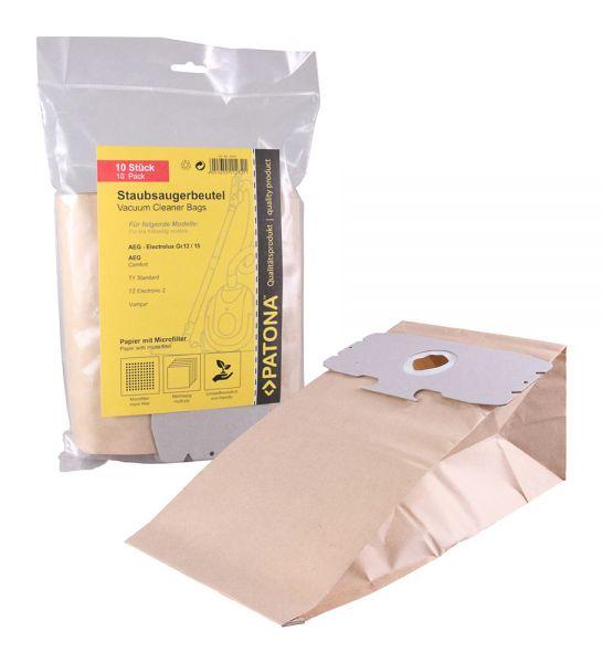 10 Staubsaugerbeutel Papier für AEG Elektrolux Gr. 12/15